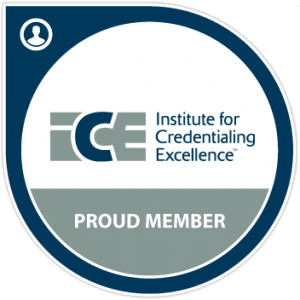 Institute for credentialing excellence member, ICE member, ICE logo,Institute for credentialing excellence member logo