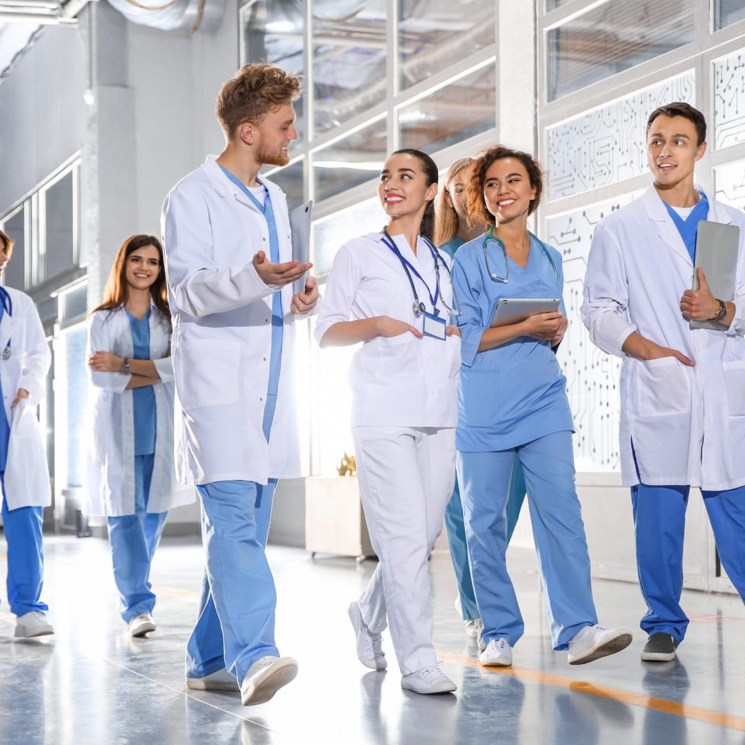 Group of medical students in college hallway